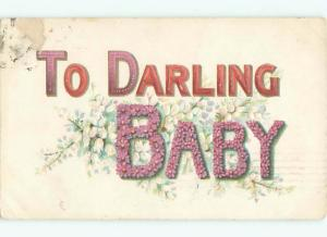 Pre-Linen TO DARLING BABY - IN BIG LETTERS WITH FLOWERS AC3934