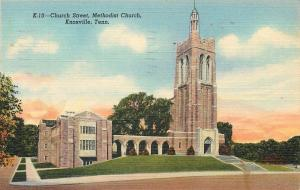Knoxville Tennessee~Church Street~Methodist Church~1948 Postcard