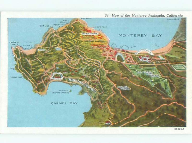 W-Border Golfing PEBBLE BEACH GOLF COURSE MARKED Carmel & Monterey CA W5479