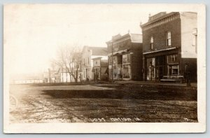 Lost Nation Iowa~North Main Street~Glicks Confectionery~Beer~Dirt Road~1916 RPPC