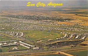 Phoenix-Sun City Arizona Aerial View~Lots of Houses-Streets-Cars~1950s Postcard