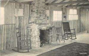 1930s Camp Fire Girls Cabin Interior Fireplace RPPC real photo postcard 7073