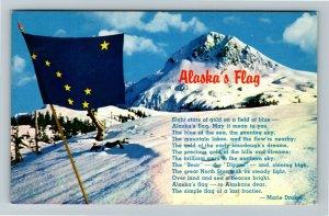 AK-Alaska's Flag 49th State Song Lyrics by Marie Drake Chrome Postcard