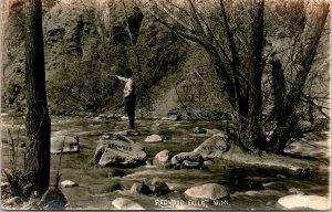 Redwood Falls Minnesota~Divining Rod Leads Man to the Redwood River~RPPC c1907