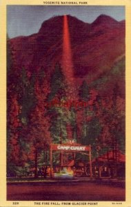 CAMP CURRY FIRE FALL FROM GLACIER POINT YOSEMITE NATIONAL PARK 1946