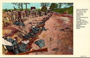 Virginia Battle Of Fredericksburg Historic Stone Wall Showing Confederate Dea...