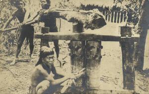 philippines, Luzon, Native Ifugao Sugar Cane Mill (1910s) RPPC Postcard
