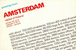 Holland Netherlands Postcard, Greetings from Amsterdam Info, Statistics GN9