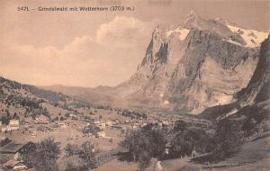 Switzerland Old Vintage Antique Post Card Grindelwald mit Wetterhorn Unused