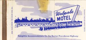 Early Walpole, Mass/MA Matchcover, Walpole Motel