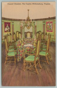 Williamsburg Virginia~Council Chamber In The Capitol Building~Vintage Postcard