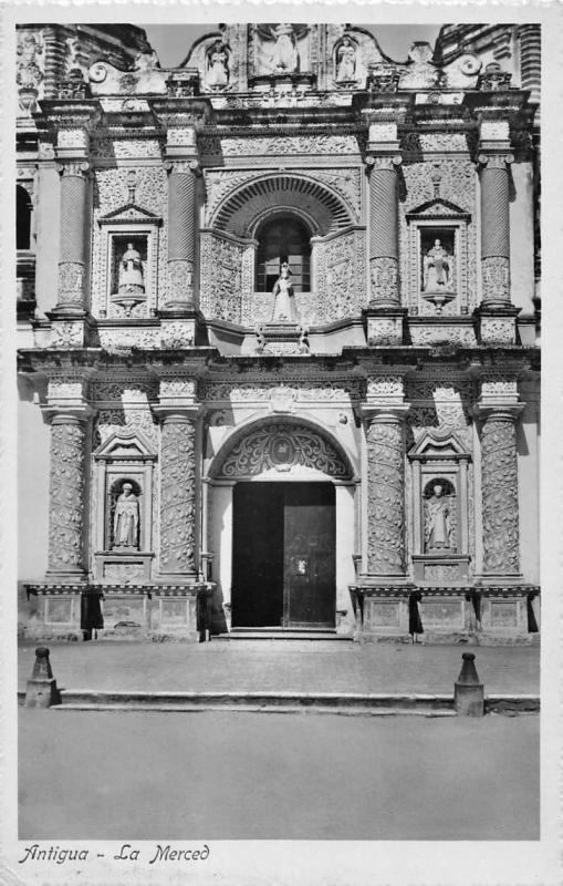 Antigua Guatemala La Merced Entrance Historic Real Photo Antique Postcard K15889