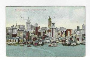 1915 Skyscrapers of Lower New York Skyline Waterfront Postcard