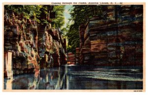 New York  Ausable Chasm , Coming through Flume
