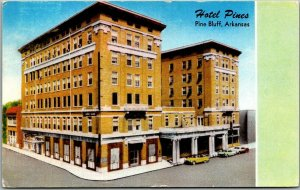 Pine Bluff, Arkansas Postcard HOTEL PINES Street View MWM Chrome 1960 Cancel