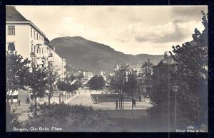 Ole Bull's Plaza Bergen Norway RPPC unused c1920's