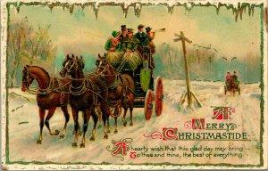Vtg Carte Postale Wildt & Kray Doré Ronde Christmastide - Stagecoach Ride Neige