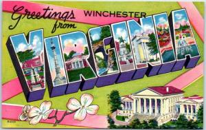 Winchester VIRGINIA Large Letter Postcard w/ State Capitol & Flower Linen c1940s