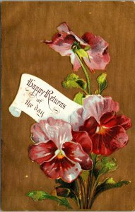 Many Happy Returns of the Day - FLOWERS - VINTAGE - POSTCARD