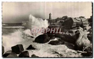 Old Postcard Ploumanac h in Perros Guirec The storm was the storm Lighthouse