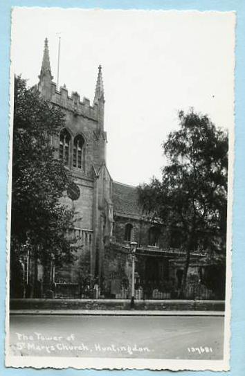 UK - England, Cambridgeshire, Huntingdon, Tower of St. Mary's Church   *RPPC