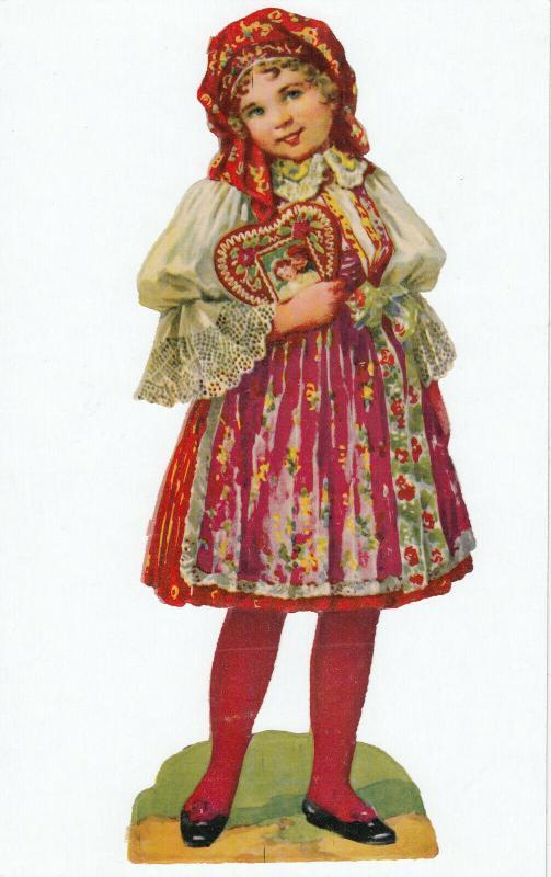 Victorian Scrap , VALENTINE'S DAY Girl ,  1890s