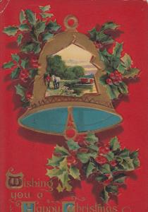 Wishing you a Happy Christmas, Country Scene on bell, holly, horse, PU-1909