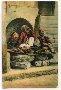 Street Bakery Smyrna Izmir Turkey 1910c postcard