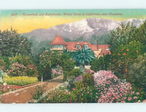 Divided-back FLOWERBEDS BESIDE LARGE HOUSE Pasadena - Los Angeles CA AD8165