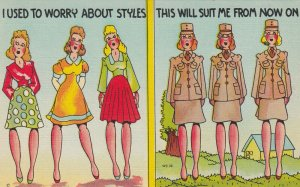 MILITARY COMIC, 1930-40s; I Used to worry about Styles...Uniform will suit Me...