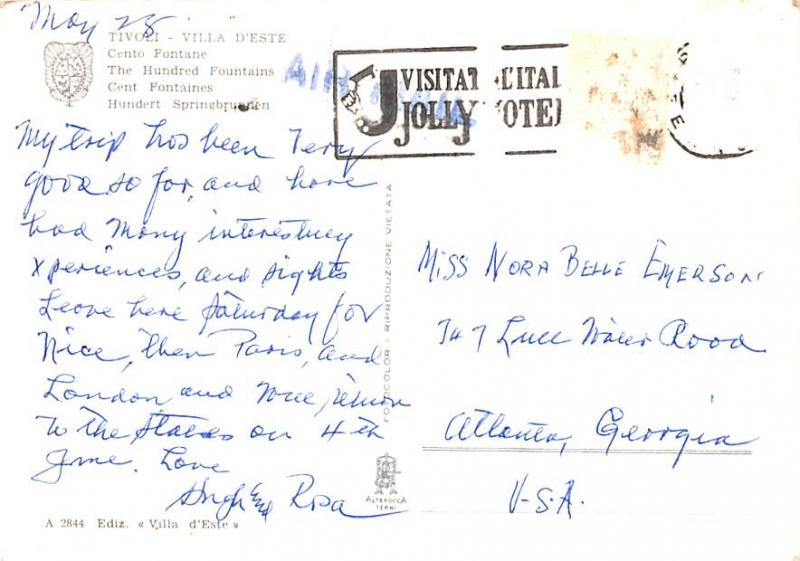 Italy Old Vintage Antique Post Card The Hundred Fountains Tivoli Postal Used ...