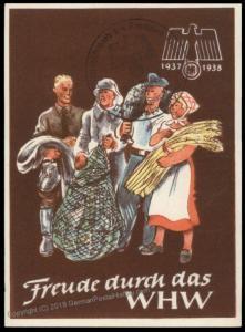 3rd Reich Germany 1938 Winterhilfswerk WHW Winter Charities Donation Plaka 77121