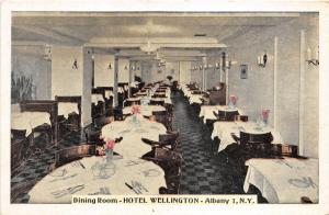 Albany New York~Hotel Wellington Dining Room View~Fancy Tableware~1948 Postcard