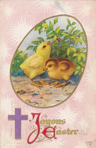 EASTER; Joyous Easter, Chicks, Purple Cross, PU-1913