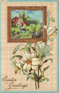 Easter greetings Picture of a house with flowers D.P.O. , Discontinued Post O...