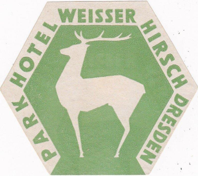 Germany Dresden Park Hotel Weisser Hirsch Green Vintage Luggage Label sk2602