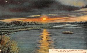 Guthrie Oklahoma~Sunset Reflects on Cimarron River~Island~Dark Clouds~1910 PC