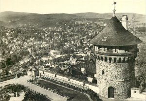 Postcard Germany black white architecture tower panoramic view city