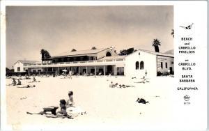 RPPC SANTA BARBARA, CA California  CABRILLO PAVILION & BEACH  c1940s  Frasher