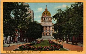 Postcard PA Pennsylvania Harrisburg City State Capital State Street Unposted