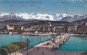 Switzerland Luzern Seebruecke Bahnhof und die Alpen 1929