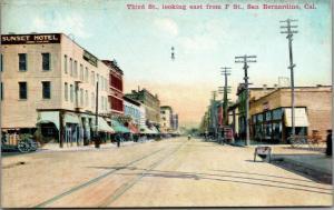 San Bernardino California~Third Street East @ F~Sunset Hotel~Drug Store~c1910