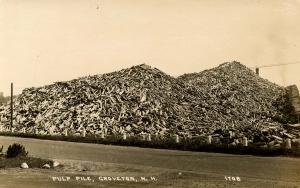 NH - Groveton. Pulp Pile at the Mill.   *RPPC