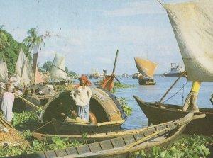 Bangladesh Boats & Ships in Gange River Mouth Postcard
