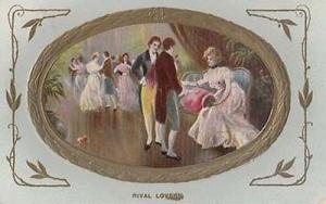 Victorian Rival Lovers Quarrel Fight Over Lady + Peace Maker Antique Postcard