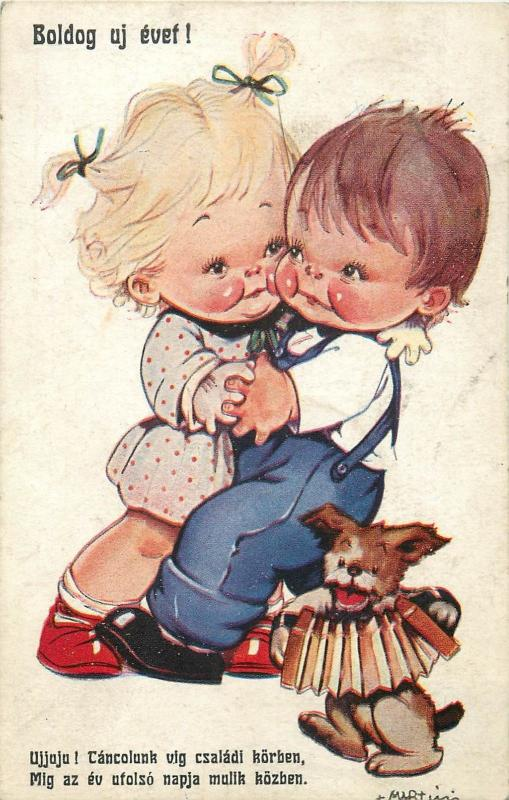 Hungary New Year children couple dancing caricatures dog harmonica music