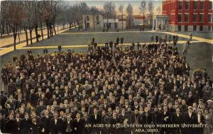 Ada Ohio~Ohio Northern University~Acre of Students on Lawn~Bldgs in Bkgd~c1910