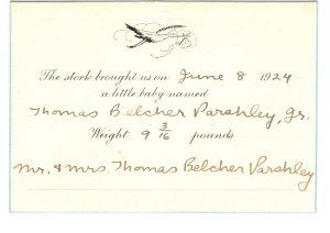 Baby Birth Announcement 1924, Thomas Paraley Jr, In Mailing Envelope