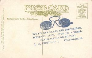 Glenwood Iowa~LS Robinson Eyeglass Spectacles~FC~Heart Pops Out~Glad Mitt~1909