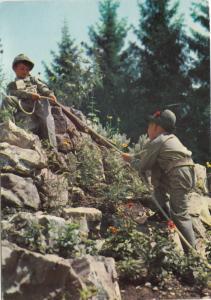 Italy, Two boys mountain climbing, used Postcard